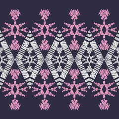 Ethnic boho seamless pattern. Lace. Embroidery on fabric. Patchwork texture. Weaving. Traditional ornament. Tribal pattern. Folk motif. Vector illustration for web design or print.