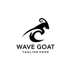 Illustration goat logo icon wave sea design vector.