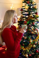 Woman at home at Christmas time