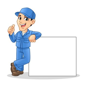 Mechanic Man Leaning Empty Board for Service, Repair or Maintenance Mascot Concept Cartoon Character Design, Vector Illustration, in Isolated White Background.