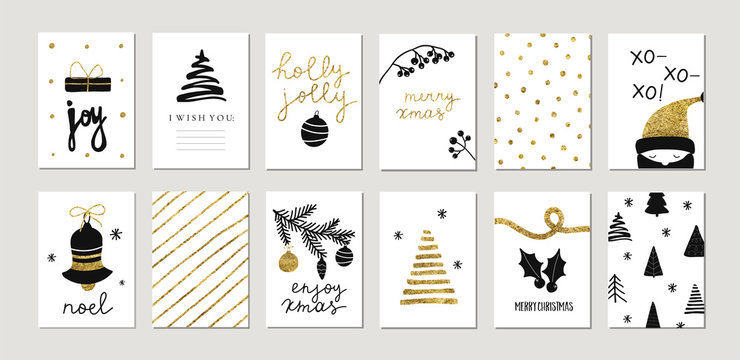 Set of christmas new year winter holiday cute greeting cards with gold texture objects. Vector abstract trendy illustration in minimalistic hand drawn flat style
