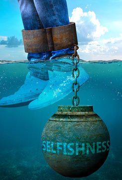 Selfishness can be an issue and a burden with negative effects on health and behavior - Selfishness can be a life stigma that impacts victims life and mental well being, 3d illustration