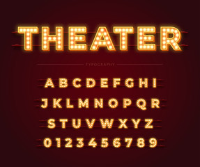 3d light bulb alphabet with red frame isolated on dark red background. Theater style retro glowing font. Vector illustration.