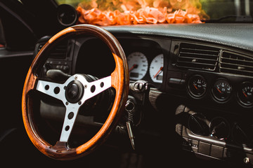 Sport steering wheel with wooden texture