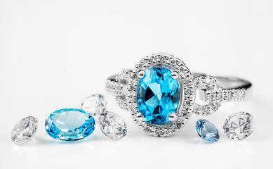 Diamond ring. Ring with diamonds and  large topaz. Topaz and diamond stones.