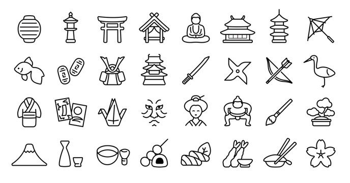 Japanese Traditional Culture Icon Set (Thin Line Version)