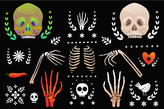 Skulls and skeleton body parts clip art objects isolated on black. Day of the dead symbols.