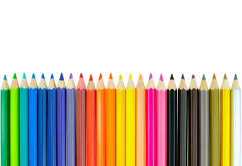 Collection of crayon de couleur for drawing at white background