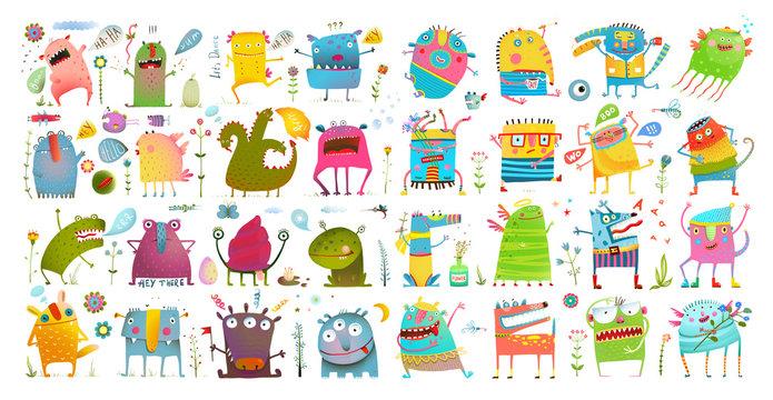 Monster character cartoon funny design for kids.