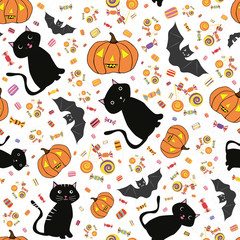 Hand drawn Halloween cats, bats, pumpkins and candy treats. Lively seamless vector pattern on subtle spiderweb white background. Great for giftwrap, party, invitations, products, stationery