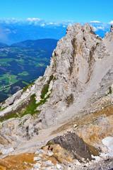 jumps towards the refuge path tower of Pisa latemar dolomites alto adige Italy