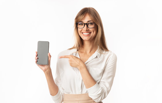 Woman Pointing Finger At Smartphone Blank Screen, Isolated, Mockup