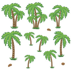 Coconut palm tree. Set of tropic landscape. Element for logo, game, print, poster or other design project. Vector illustration.