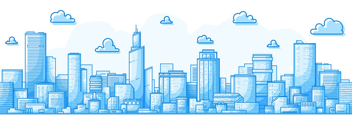 Fotobehang Blauw Seamless city landscape. Cityscape with buildings. Simple blue background. Urban silhouette. Line art. Beautiful template. Modern city with layers. Flat style vector illustration.
