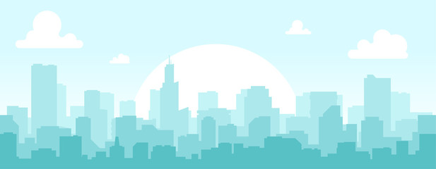 Poster Lichtblauw Seamless silhouette of the city. Cityscape with buildings. Simple blue background. Urban landscape. Beautiful template. Modern city with layers. Flat style vector illustration.