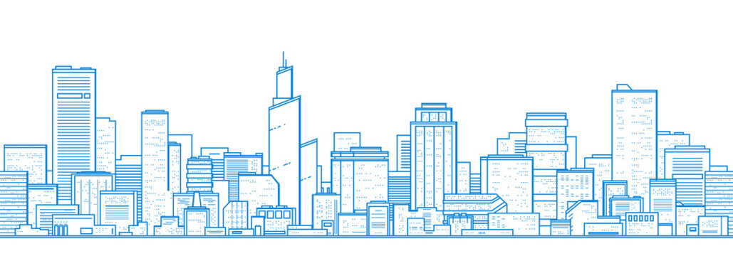 Seamless city landscape. Cityscape with buildings. Simple blue background. Urban silhouette. Line art. Beautiful template. Modern city with layers. Flat style vector illustration.