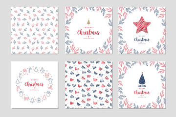 Fototapete - Christmas square winter holiday greeting cards set with New tree, gift box, reindeer, ornaments.
