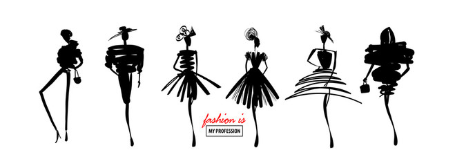 Fashion models sketch hand silhouette pop art