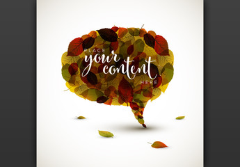 Autumn Speech Bubble Layout with Illustrative Leaves