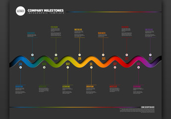 Corporate Annual Timeline Infographic with Colorful Accents