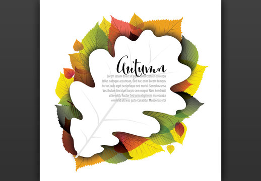 Square Autumn Card Layout with Large Illustrative Leaf