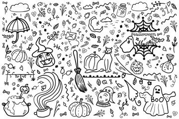 Great Halloween. Collection and set banner. Coloring page adult and kids. Pumpkin, zombie, vampire, potion, spiderweb, horror and fear. - Vector. Vector illustration