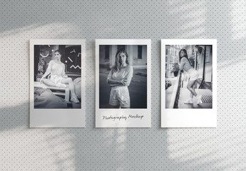 Three Instant Photos Mockup on Corkboard