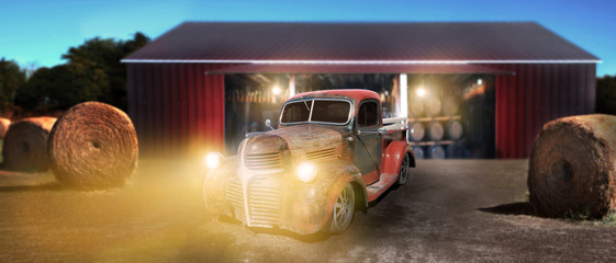Printed roller blinds Vintage cars Vintage pickup truck wide open country side with dramatic sunset near the barn