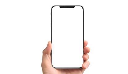 Fototapeta Man hand holding smartphone device touching screen obraz