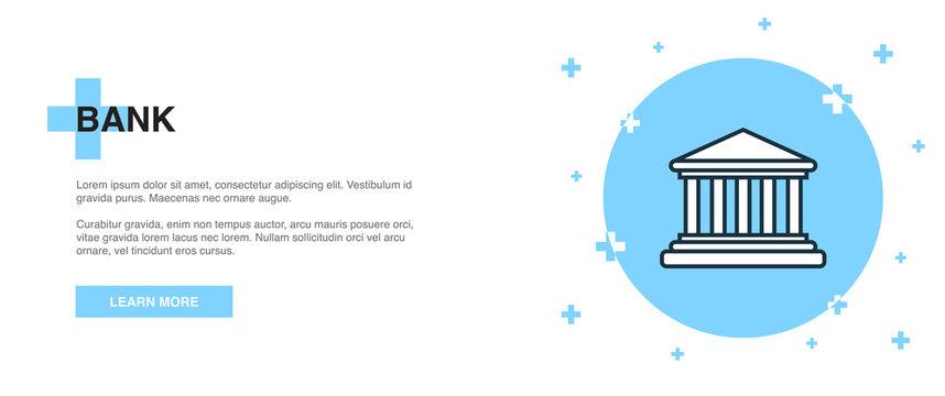 bank icon, banner outline template concept. bank line illustration