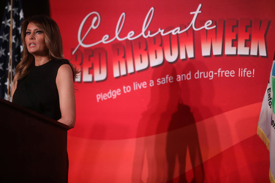 U.S. first lady Trump participates in the Drug Enforcement Agency's (DEA) National Red Ribbon Rally at DEA headquarters in Arlington, Virginia