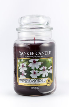 Madagascar Orchid scented yankee candle on a white background.