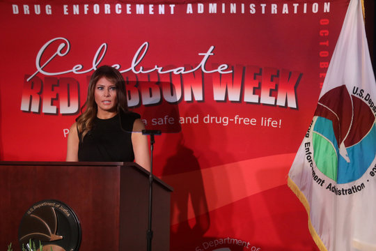 U.S. first lady Melania Trump participates in the Drug Enforcement Agency's (DEA) National Red Ribbon Rally at DEA headquarters in Arlington, Virginia