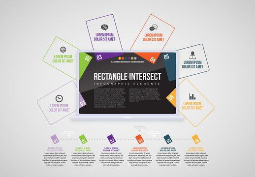Laptop Rectangles Info Chart Layout