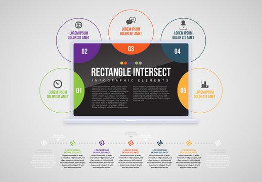 Laptop Circles Info Chart Layout