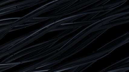 Abstract dark background. Twisted, bending hosepipe.