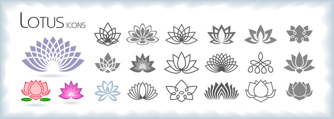 Collection of lotus icons with different styles