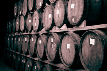 Wall Mural - Wine barrels stacked