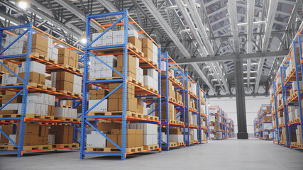 Warehouse with cardboard boxes inside on pallets racks, logistic center. Huge, large modern warehouse. Warehouse filled with cardboard boxes on shelves, boxes stand on pallets, 3D Illustration Wall mural