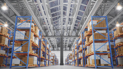 Warehouse with cardboard boxes inside on pallets racks, logistic center. Huge, large modern warehouse. Warehouse filled with cardboard boxes on shelves, boxes stand on pallets, 3D Illustration