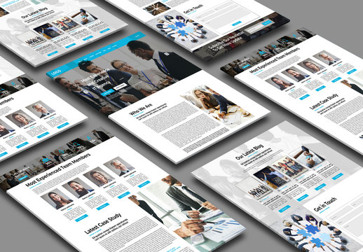 Business Website Layout with Blue Accents