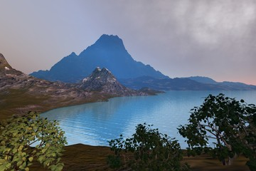 Mountain, a natural landscape, beautiful lake, trees with green leaves and clouds in the sky.