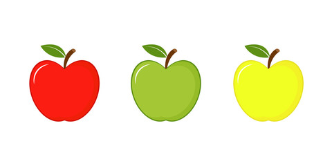 Apples icon red, green and yellow. Vector illustration isolated on white background.
