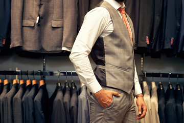Midsection view of businessman in suit
