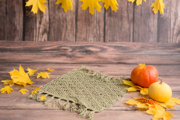 braided rug in the background. autumn leave. orange pumpkins. in the autumn photo zone for a photo shoot