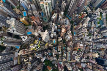 Fotomurales - Top down view of Hong Kong city