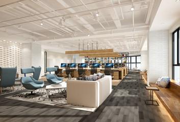 3d render of modern working office