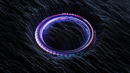 Three dimensional wave vibrations and purple glowing ring 3D render