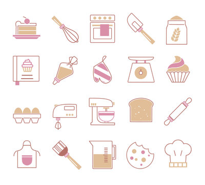 Vector icon set for cretaing infographics related to baking, including food like cupcake, tools like piping bag or whisk and various ingredients like eggs or flour