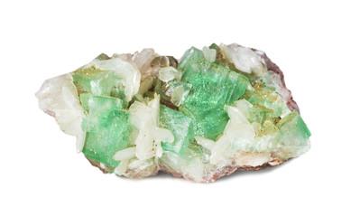 Green apophyllite and white stilbite